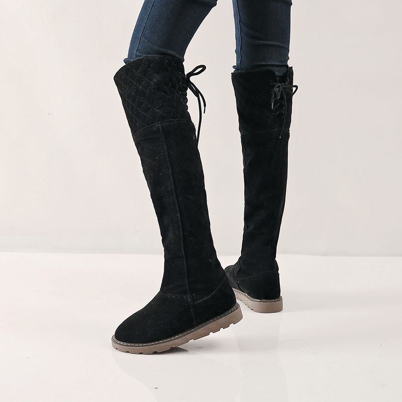 (Buy here: http://appdeal.ru/vzk ) winter 2016 plus size snow boots womens folding back lace up flat heel snowboots black yellow beige thicker ladies shoes boot for just US $74.99