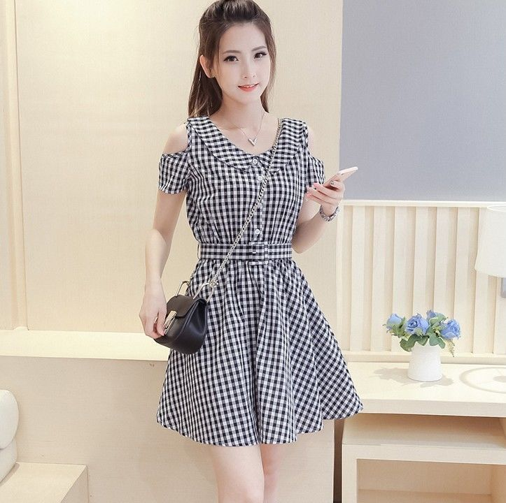 Summer Trends Korean Fashion Sweet Off-Shoulder Plaids Checks Slim Casual  Dress  501891a00a4c