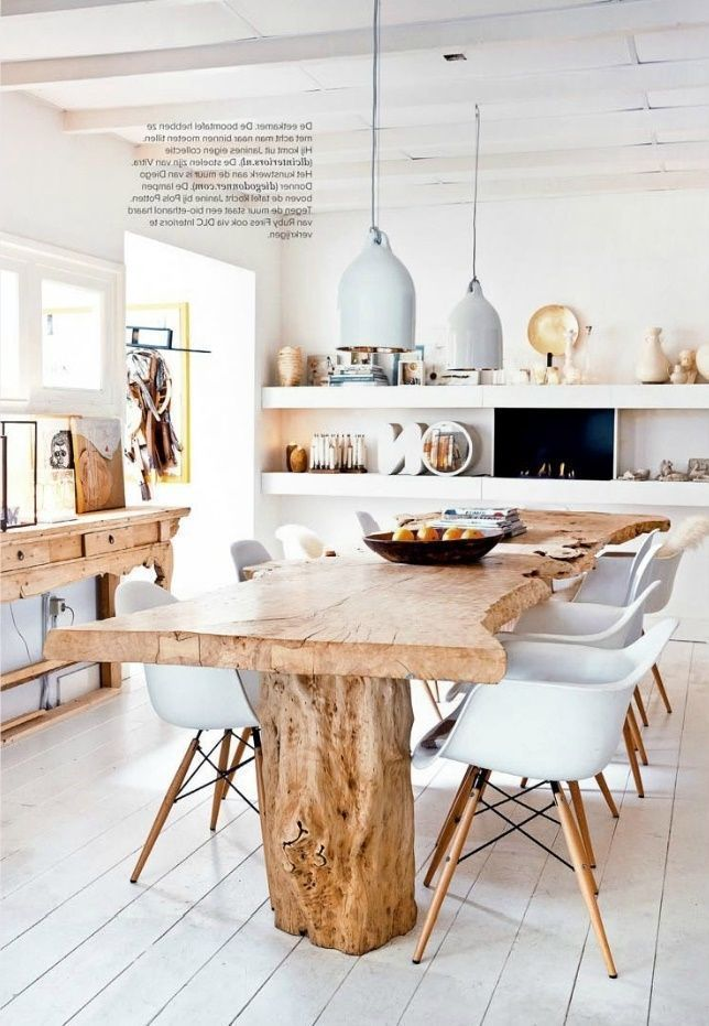 Esstisch aus Holz und weißem EamesStuhl eames esstisch