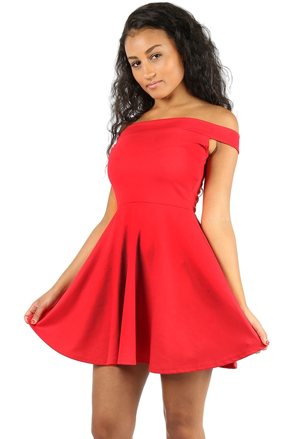 Oops outlet womens off shoulder flared bardot swing party mini