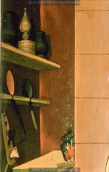 cooking tools. detail from Anbetung der Könige: Kunstwerk: Temperamalerei-Holz ; Einrichtung sakral ; Flügelaltar ; Wien ; Mt:02:001-012 , Is:49:008-026 , Is:60:001-006 , Erscheinung:07:001-011 , Erscheinung:13:001-008 , Erscheinung:14:001-010  Dokumentation: 1485 ; 1495 ; Klosterneuburg ; Österreich ; Niederösterreich ; Stiftsmuseum  Anmerkungen: 146x113,5