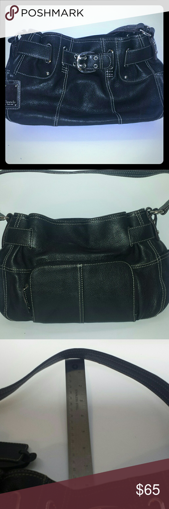 Tignanello Handbag Very Clean Black Leather Purse Preowned Carried Less Than 10 Times With Chrome Accents External Wallet Style