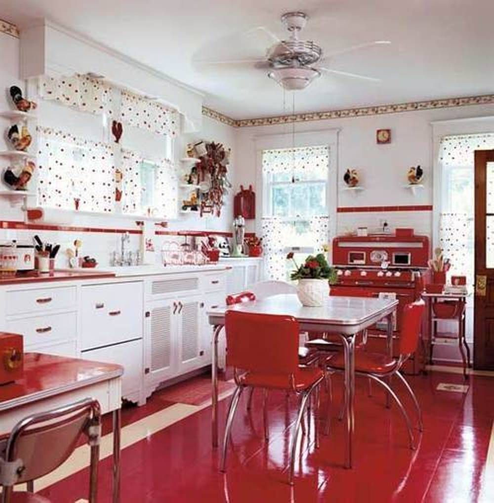 vintage kitchen  | Red White Vintage Kitchen : Decorating Vintage Kitchen Gallery ... #vintagekitchen