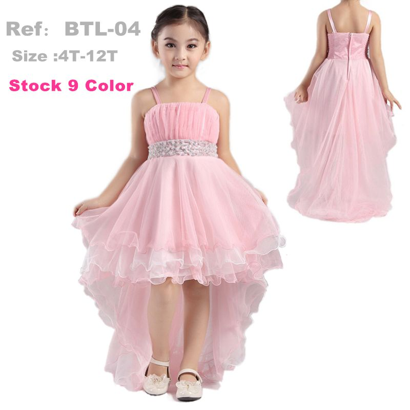Factory Wholesale 4-12 years Girl Party Dress 2016 New Pink Flower ...