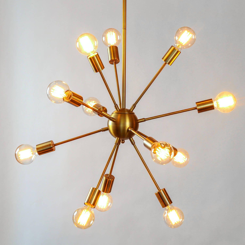Lights Ceiling Chandeliers 12 Light Sputnik Pendant In Br Medium