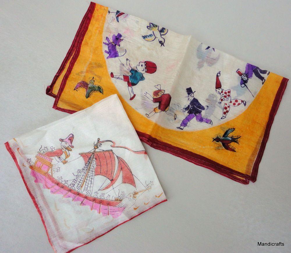 Handkerchief x 2 Silk Sheer Duck Ship Captain & Birds Clowns Pictorial Vintage