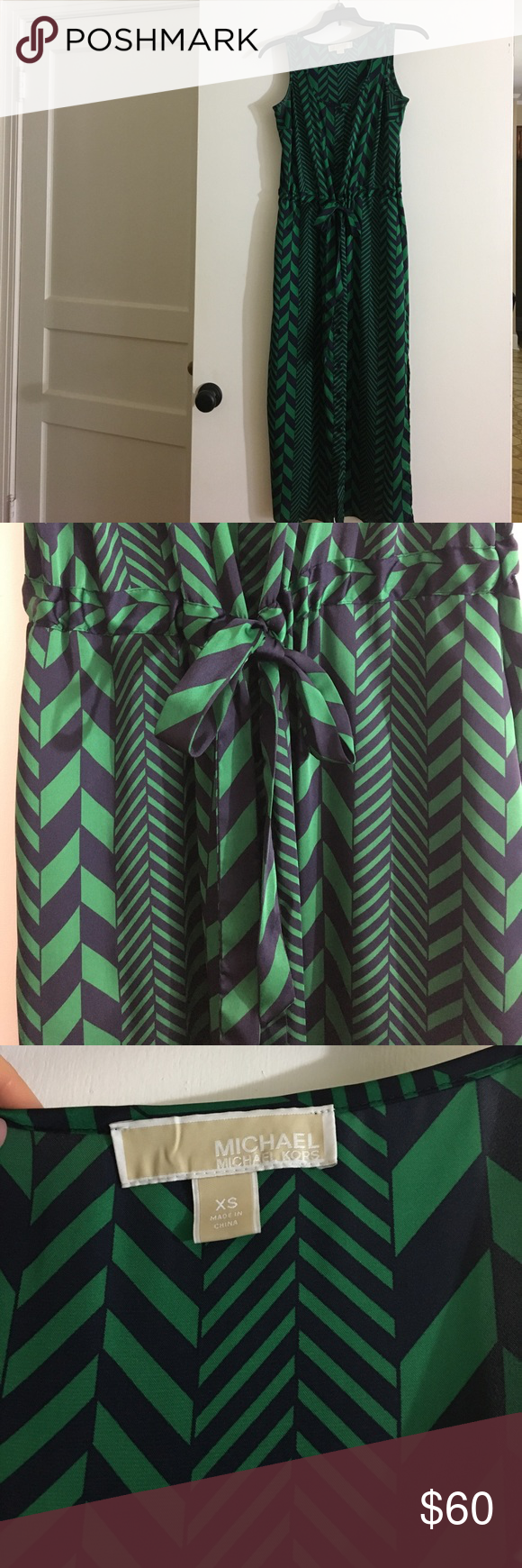 Michael Kors mid-length navy and green dress Michael Kors Navy and Green mid-shin length dress. Size XS. Bow closure captured in the front. Dresses Maxi