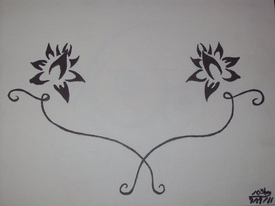 Traditional Flower Line Drawing : With different flowers and cursive names added to lines tatoo
