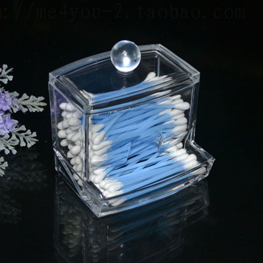 1PCS Creative Clear Acrylic Q-Tip Storage Holder Box Transparent Cotton  Swabs Stick Cosmetic Makeup