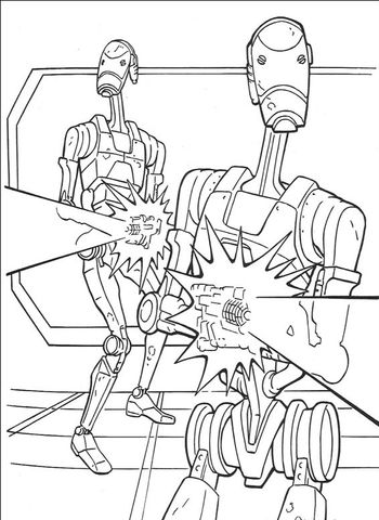 Star Wars Battle Droids Coloring Page From The Phantom Menace