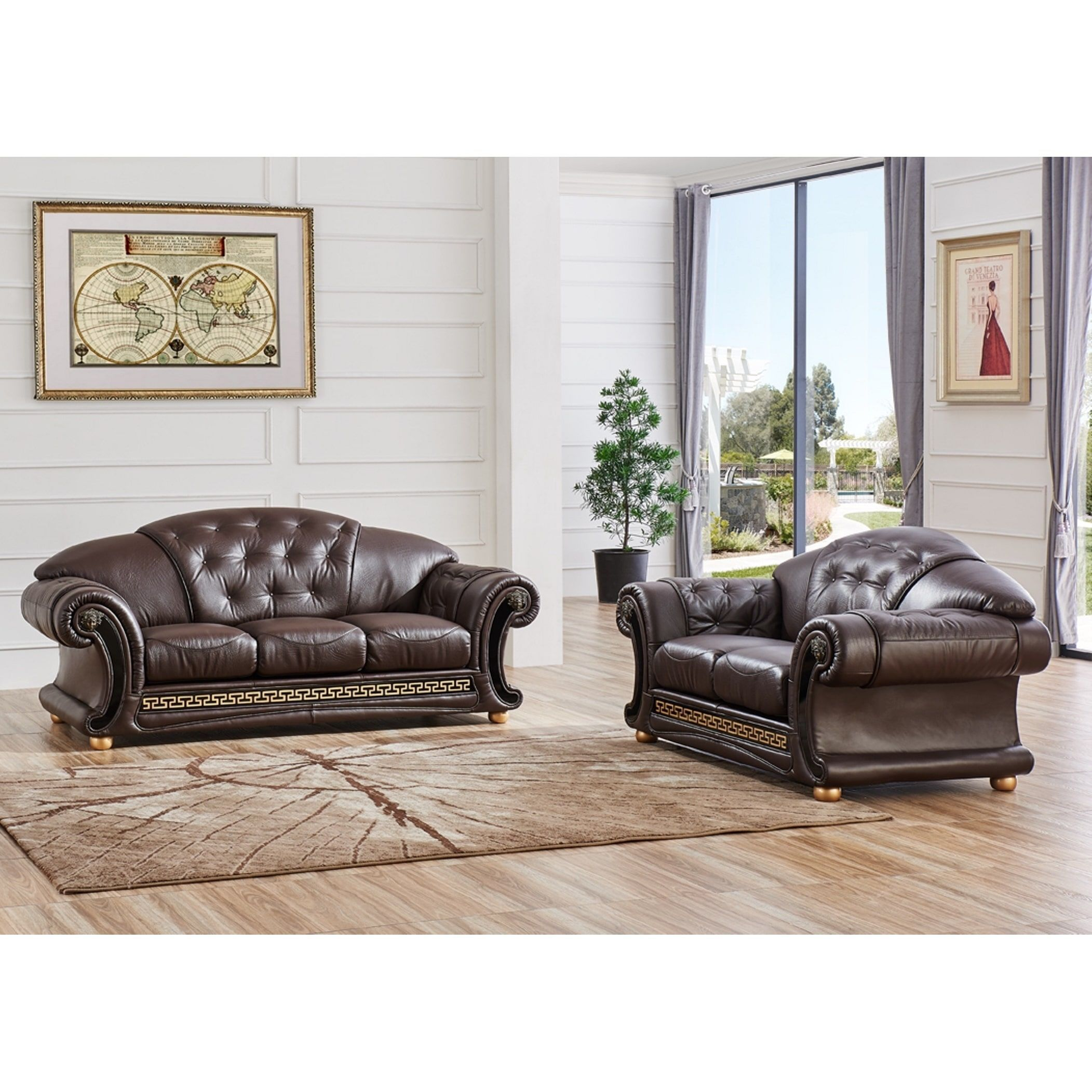 Luca Home 2-piece Split Brown Leather Living Room Set (Brown Half ...