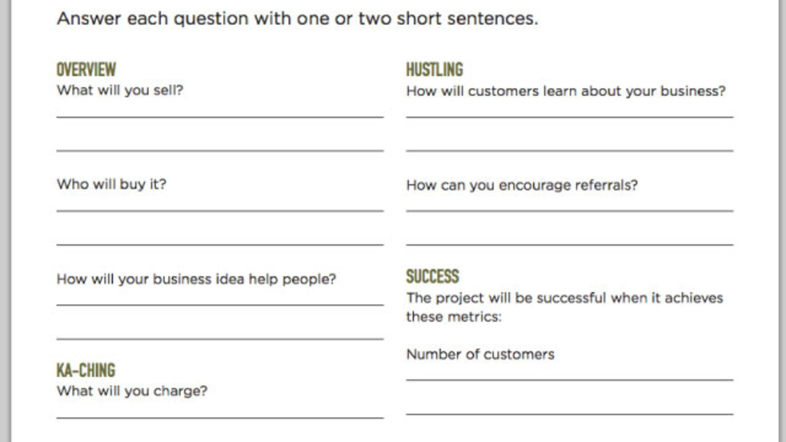 Fill Out a OnePage Business Plan and Get Your Business