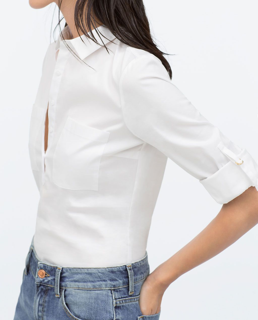 Image 3 of COMBINED DETAIL STRETCH POPLIN SHIRT from Zara Button