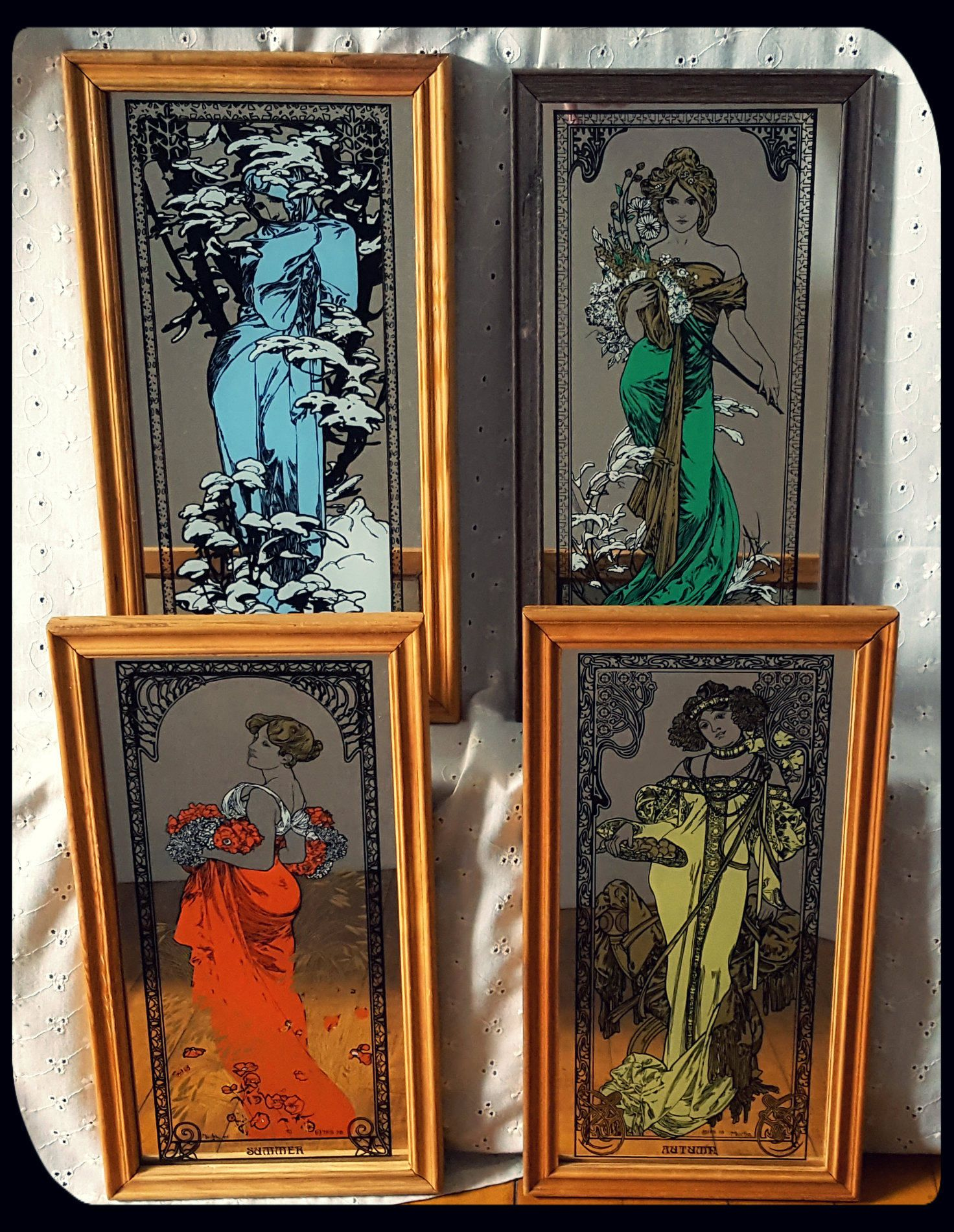 Vintage Alphonse Mucha Four Seasons Art Set Of Four Mirrors