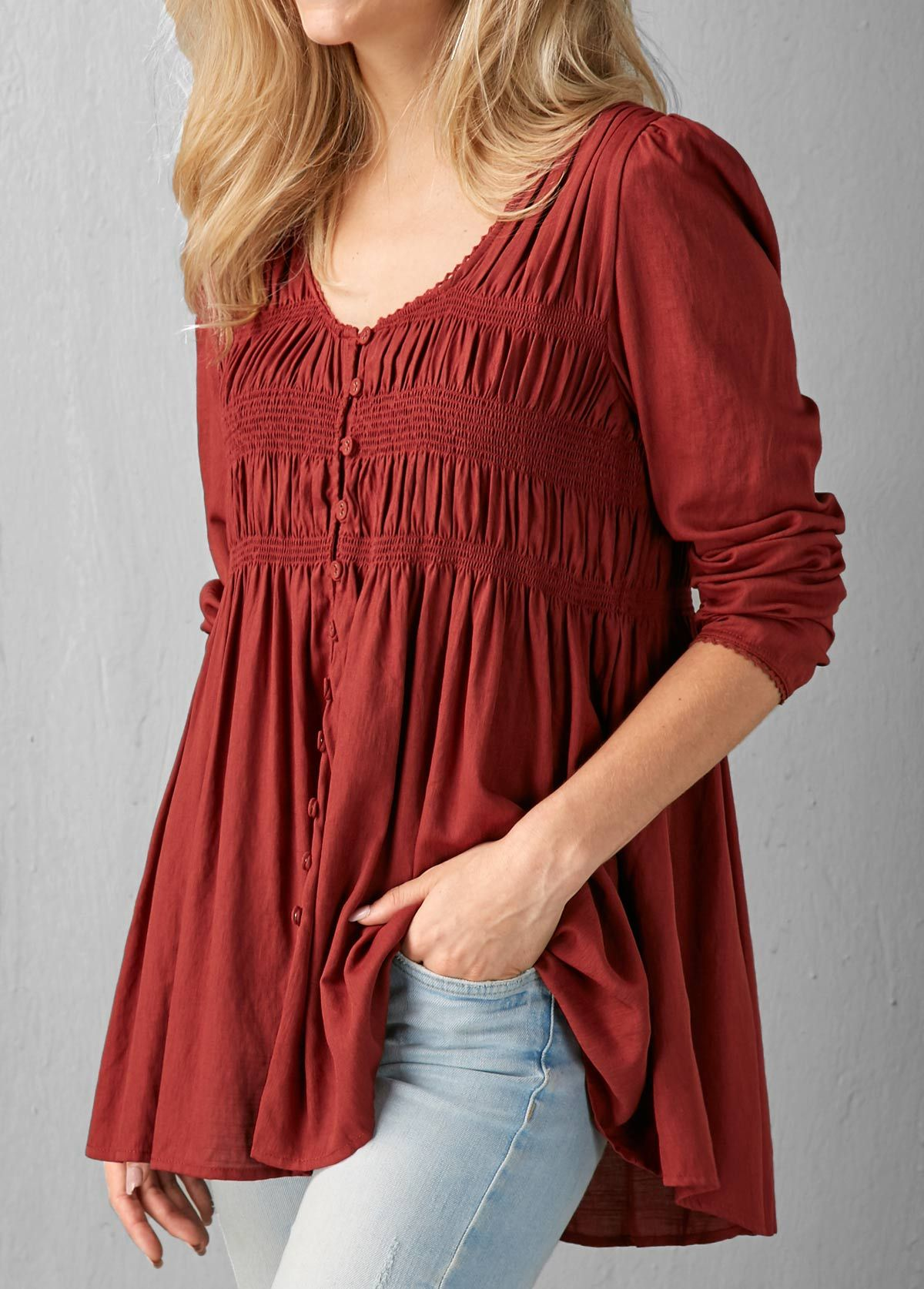 461cfd1ad51c Long Sleeve Button Up Burgundy Blouse