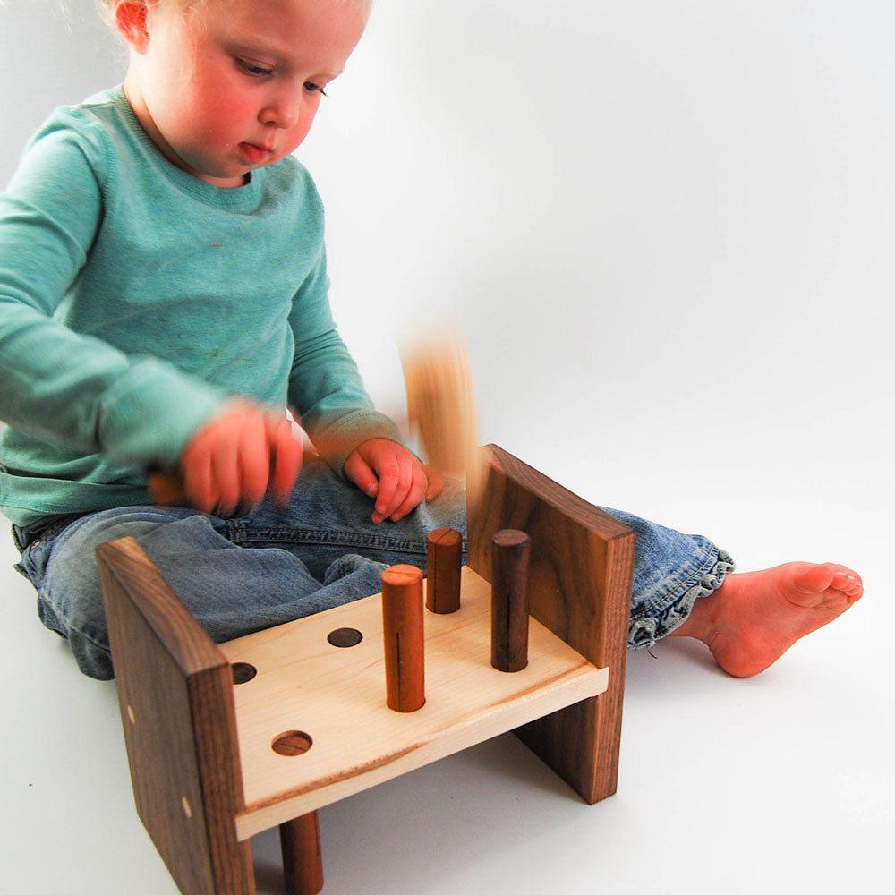 Hammer Toy Organic Wood Peg Pounding Kids By
