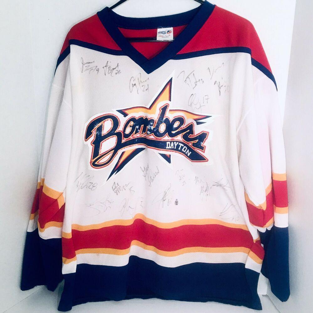 Vtg Autographed 1990s Dayton Bombers Fan Jersey Hockey