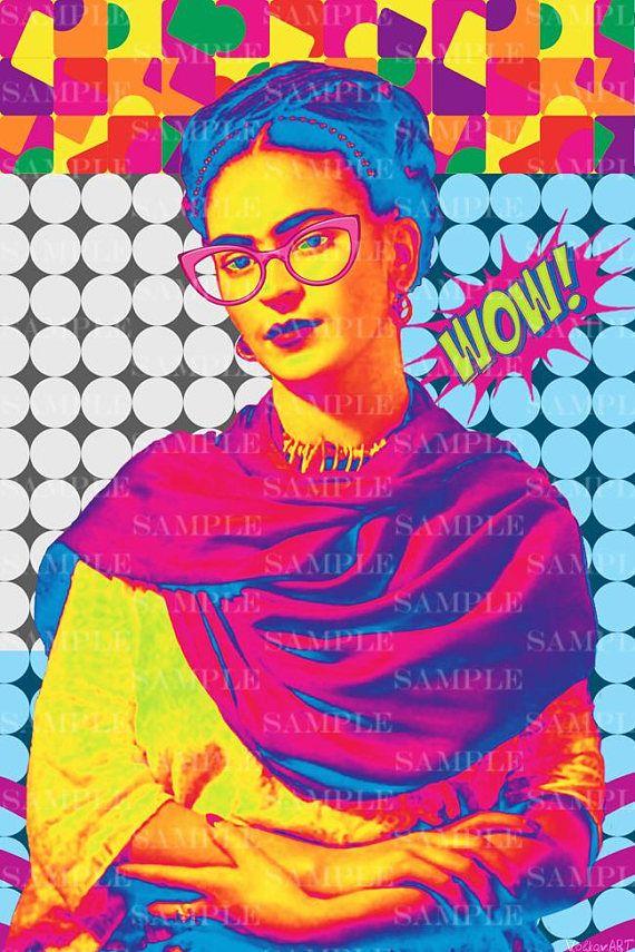 Frida Pop Art Portrait Instant Download Digital Poster Vintage Retro Style Photo Collage