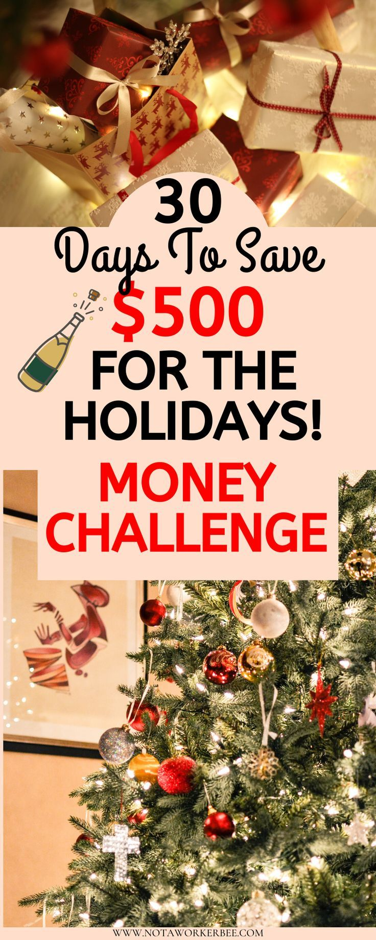 Save $500 or more with this easy 30 day money challenge for a debt free Christmas. Start easy and build up! #startsavingmoney
