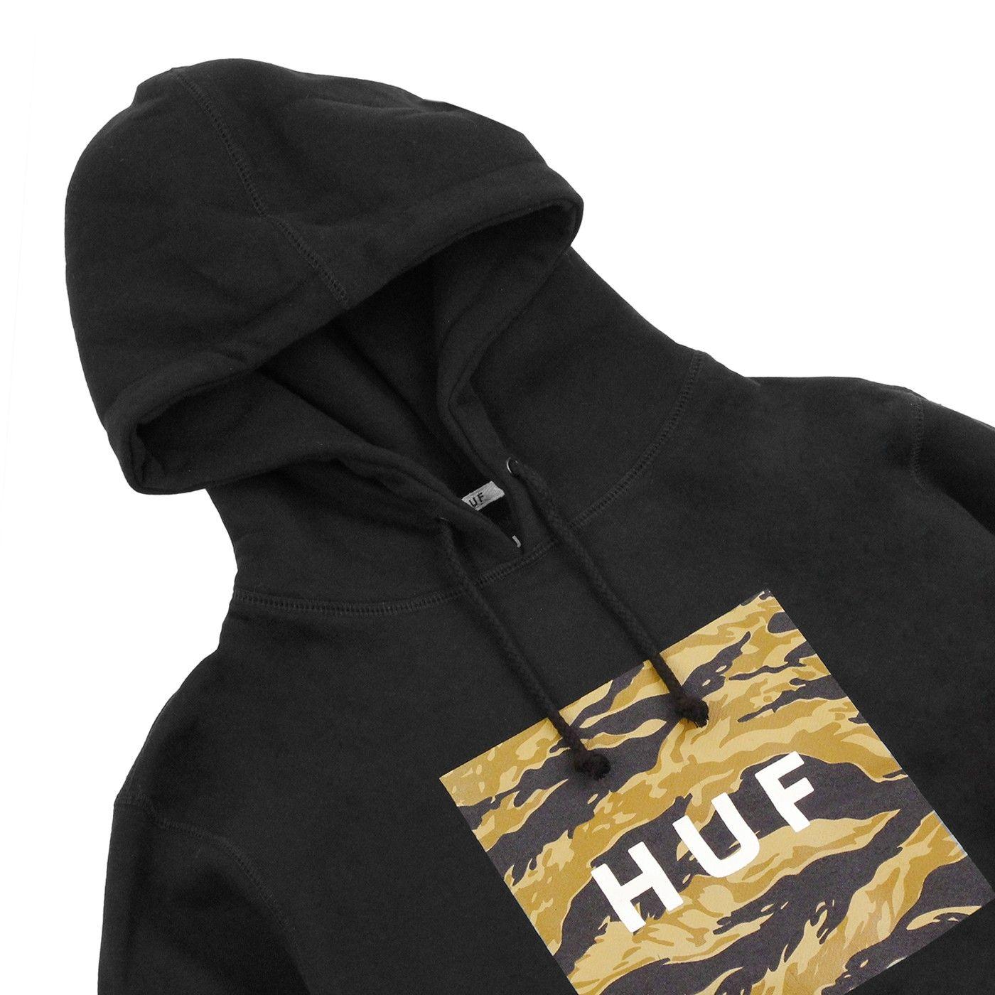 73599c6c Golden Camo Stripe Box Logo Pullover Hoodie in Black by HUF ...