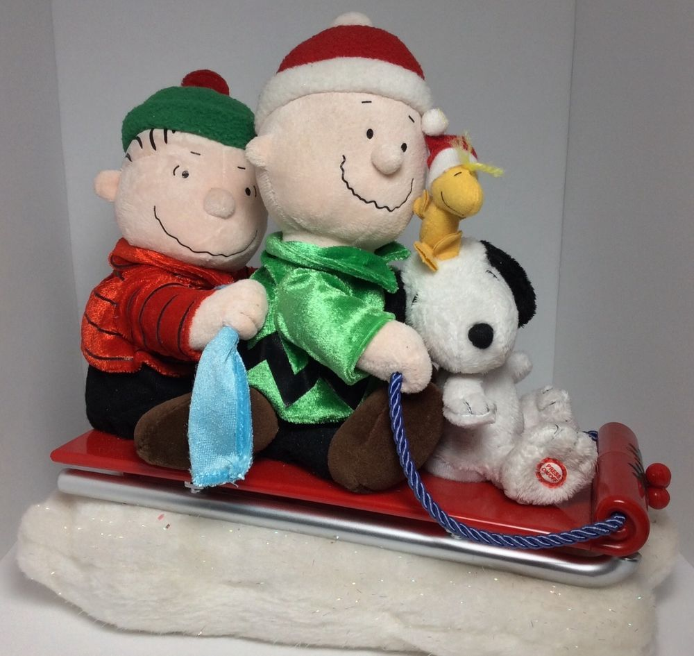 50ef0076297f9 Christmas Charlie Brown Snoopy Woodstock and Linus On a Sled Musical    Animated  Gemmy