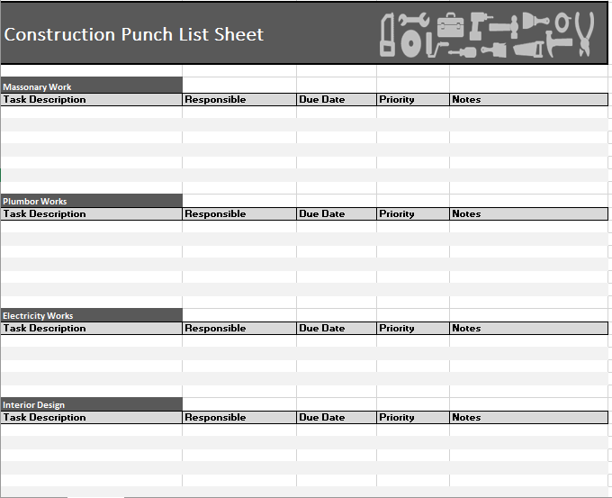 Punch List Template Excel from i.pinimg.com