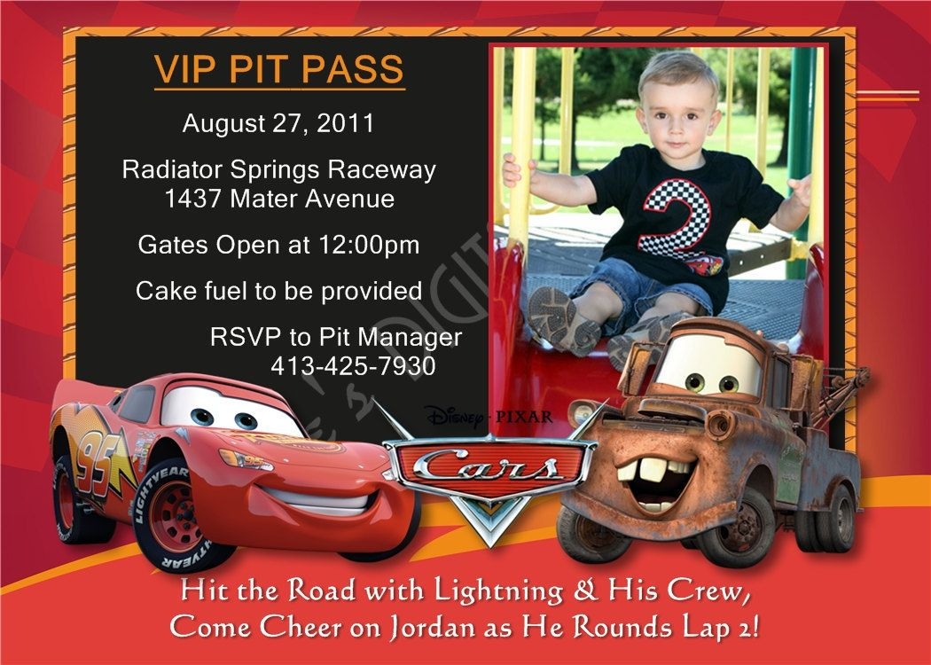 Cars Birthday Invitation Lightning McQueen Invitation Cars