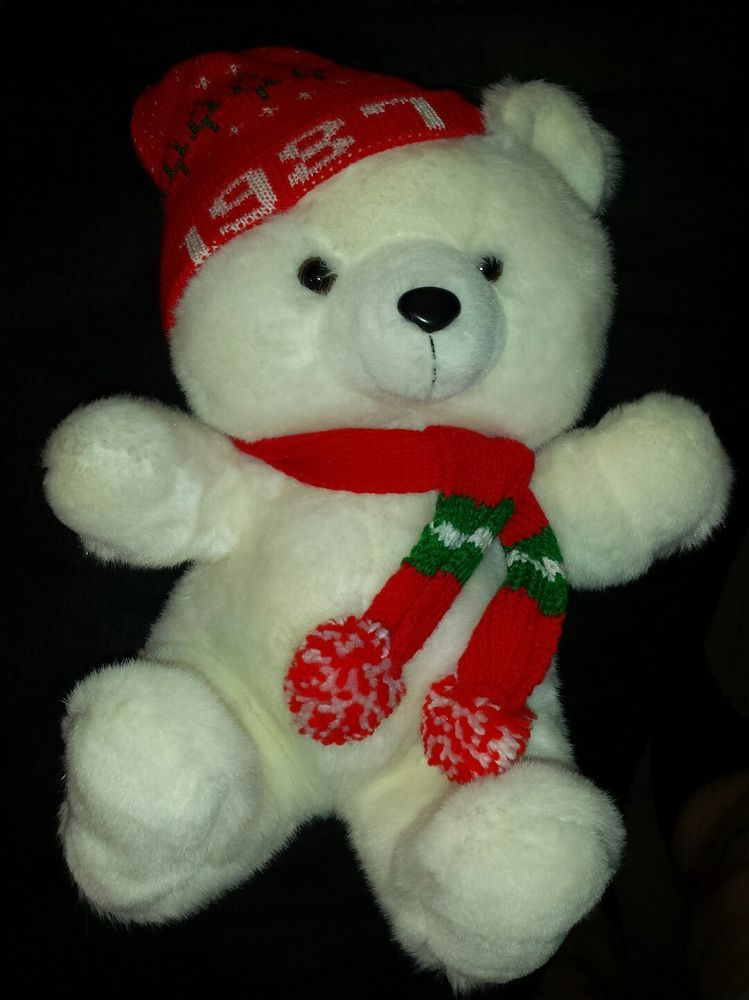 Vintage 1987 kmart christmas teddy bear stuffed animal plush toy ...