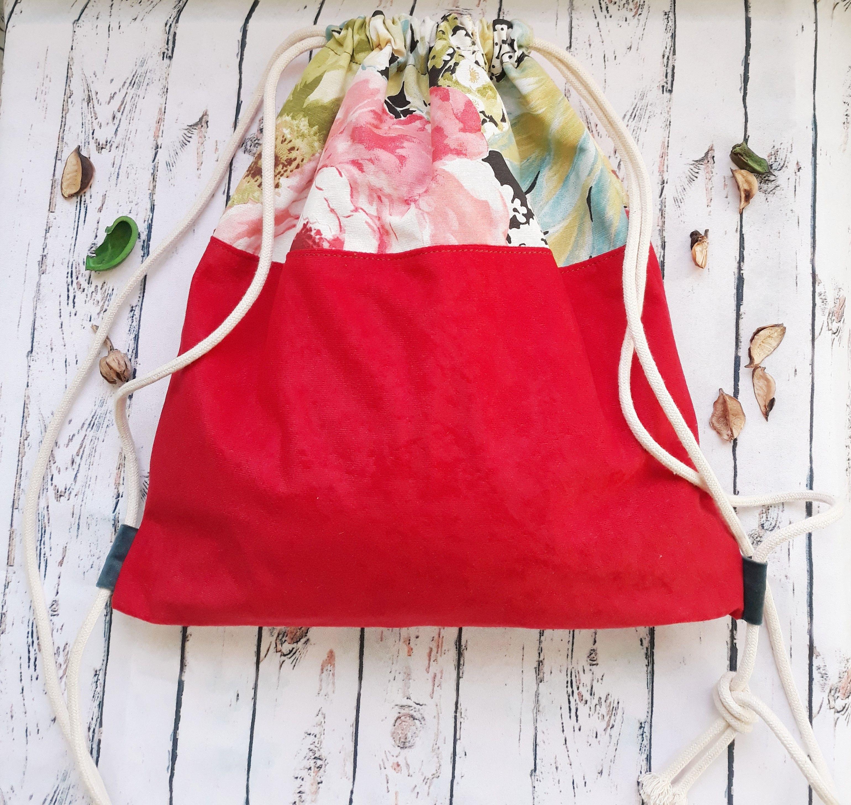 Plecak Worek Podszewka Kwiaty Czerwony 7782933469 Oficjalne Archiwum Allegro Bags Drawstring Backpack Backpacks