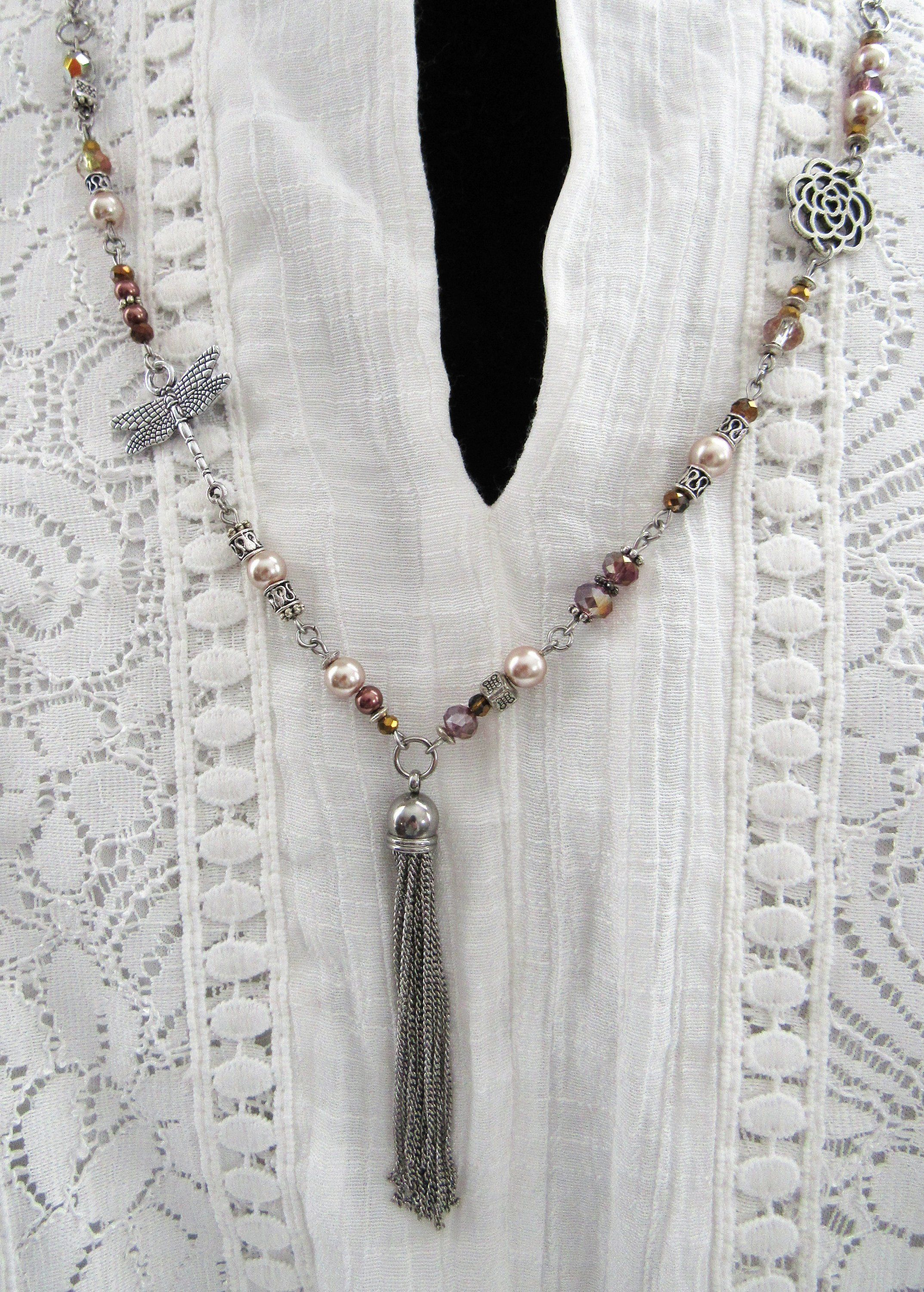 Dragonfly beaded tassel necklace long necklace
