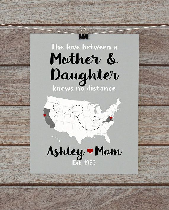 Gift for Mom, Mother Daughter Gift, Mom Daughter Map, Personalized ...