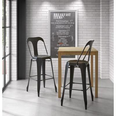 kraft claire lot de 2 chaises de bar en m tal noir mat. Black Bedroom Furniture Sets. Home Design Ideas