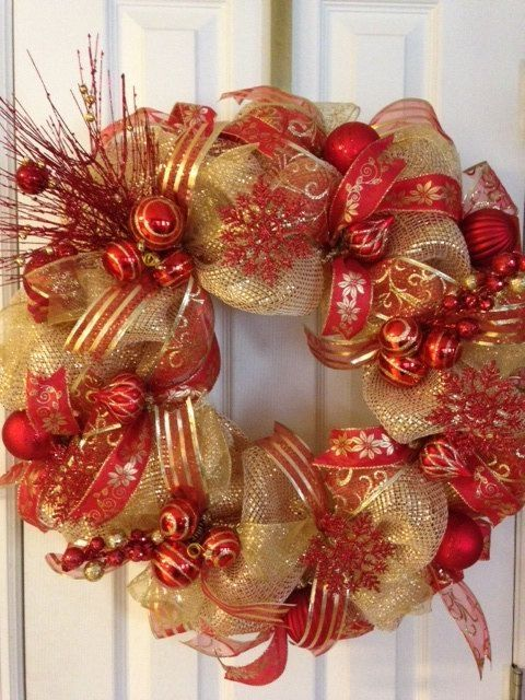 Christmas Red and Gold Deco Mesh Christmas Wreath on Etsy, $10000 - christmas wreath decorations