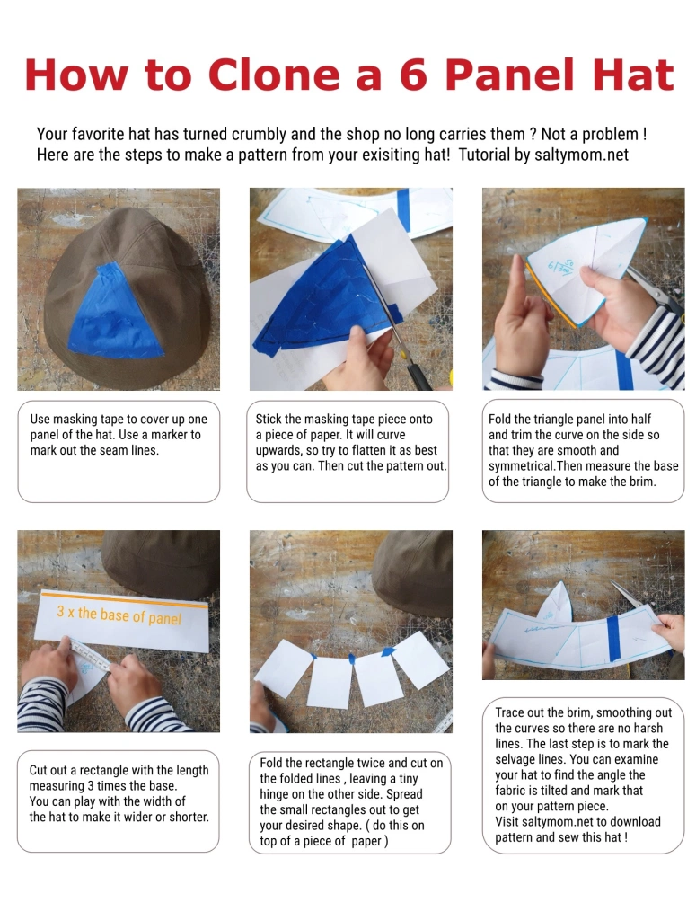 How To Sew 6 Panel Bucket Hat Skull Cap Free Download Salty Mom In 2021 Hat Patterns To Sew Panel Hat Sewing