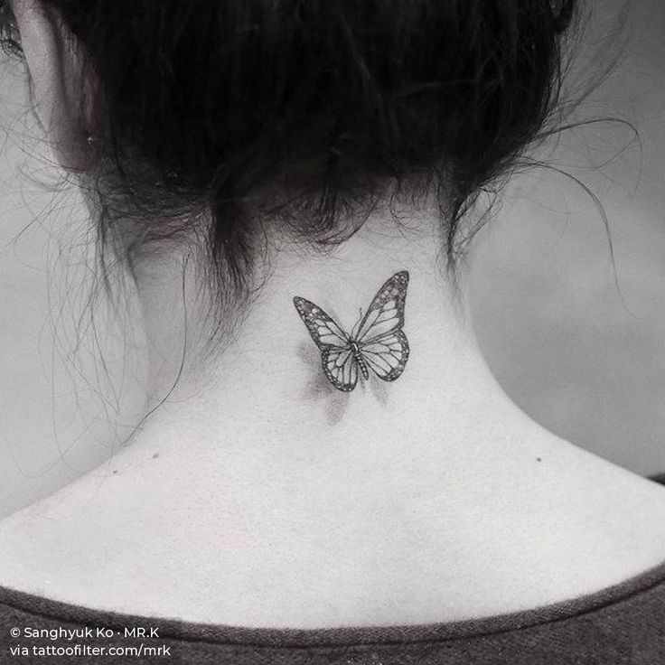 Single Needle Butterfly Tattoo On The Back Of The Neck Neck Tattoos Women Neck Tattoo Butterfly Tattoo
