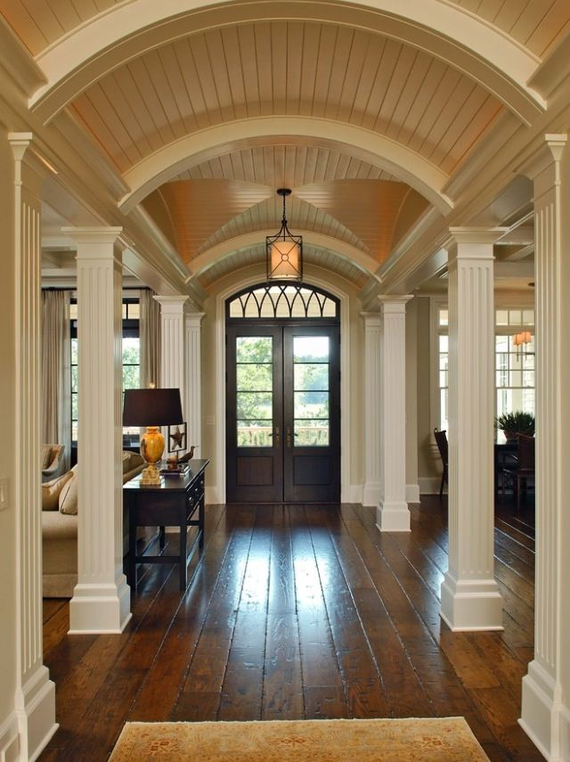 Grand Fireplace W Vaulted Ceilings Beams Open Floor: Entrance-houzz Floors And Ceiling