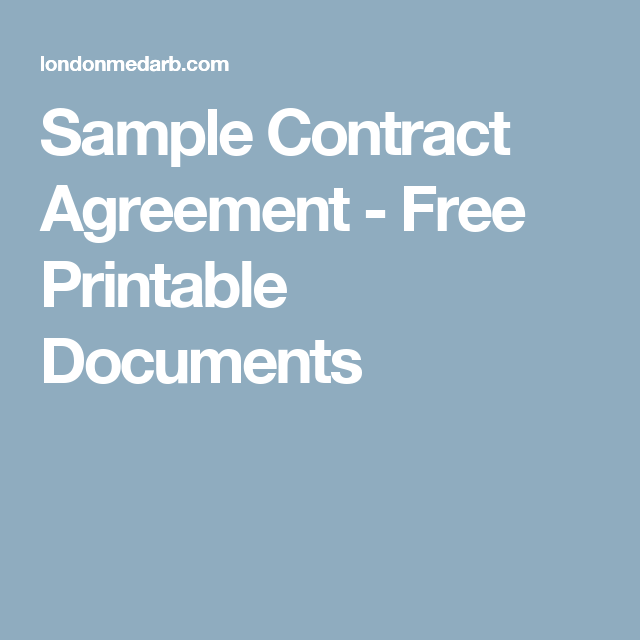 Sample Contract Agreement  Free Printable Documents  Business