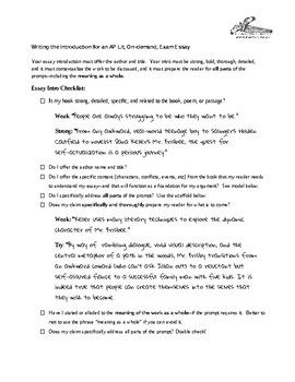 Ap Literature And Composition Essay Intro Checklist  Ap Literature  Ap Literature And Composition Essay Intro Checklist