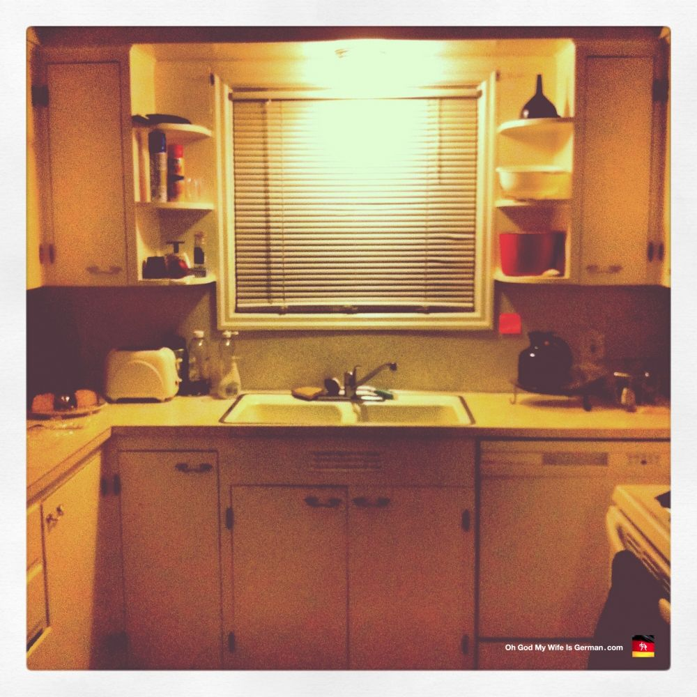 Our horrible 1970s kitchen. Being all horrible...