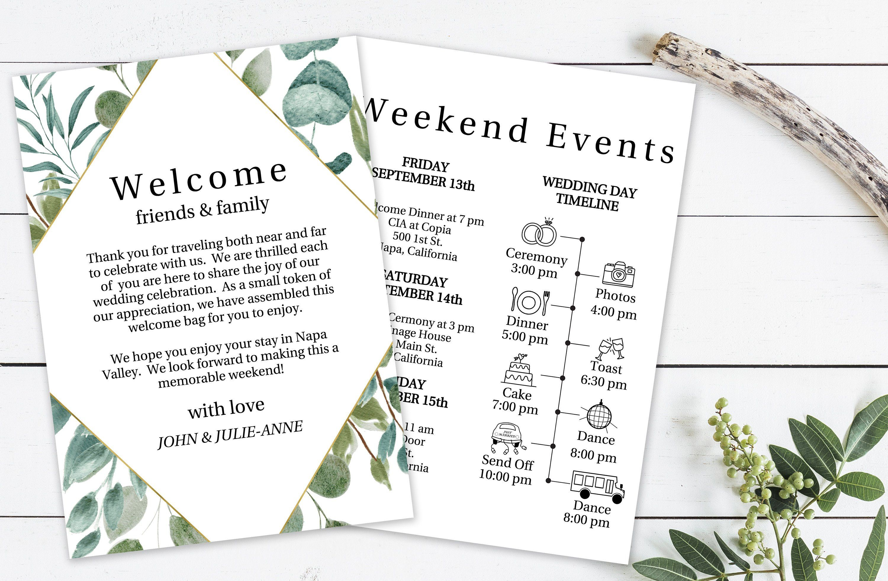 Templett PPW0445 Printable Out of Town Timeline Welcome Bag 100/% Editable Wedding Day Schedule Gold Frame Greenery Welcome Card