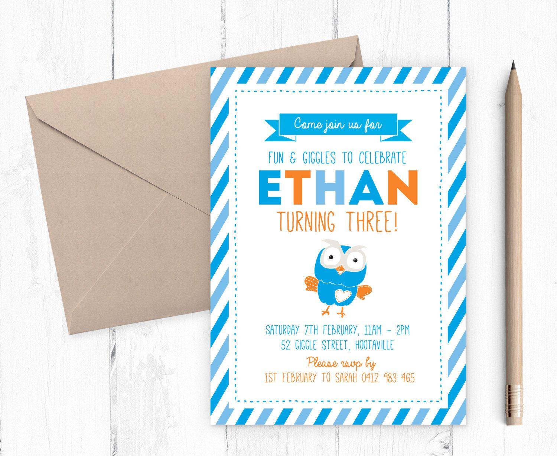 Giggle and Hoot birthday party invitation / Boys birthday invitation ...