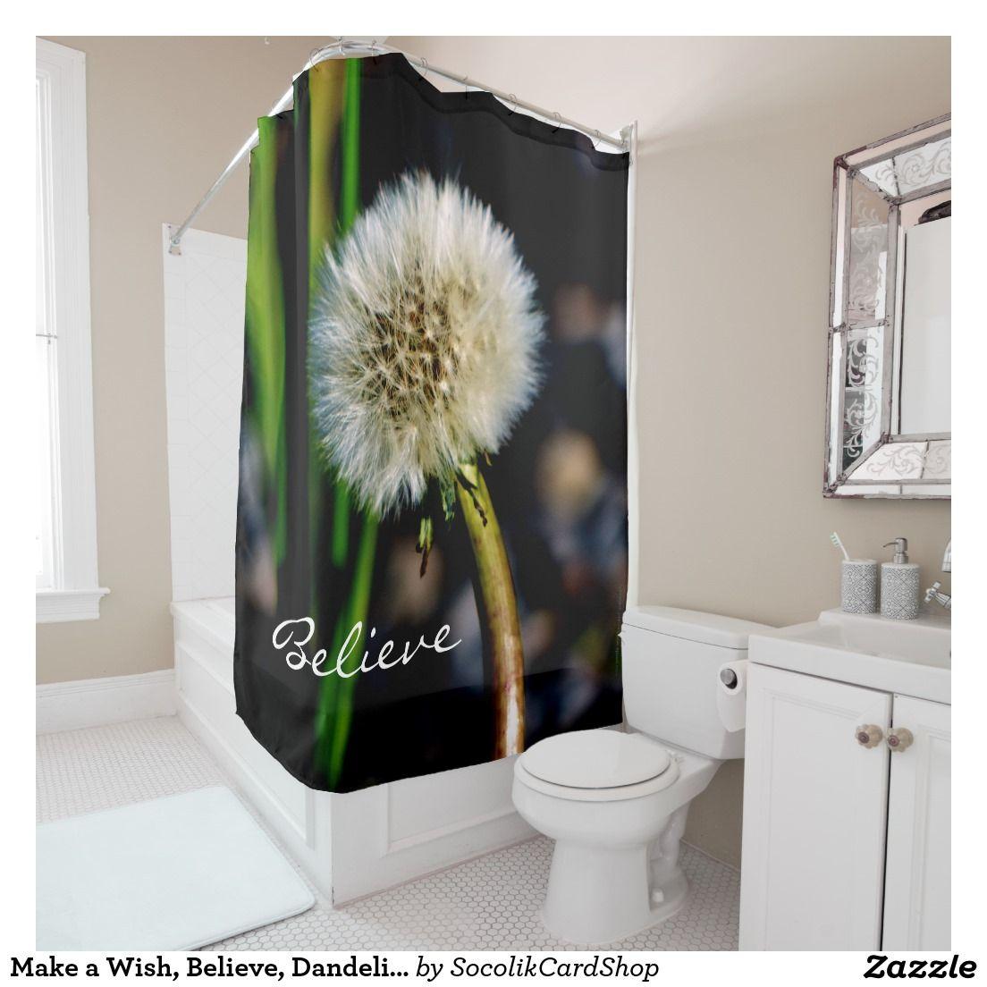 Make A Wish Believe Dandelion Shower Curtain