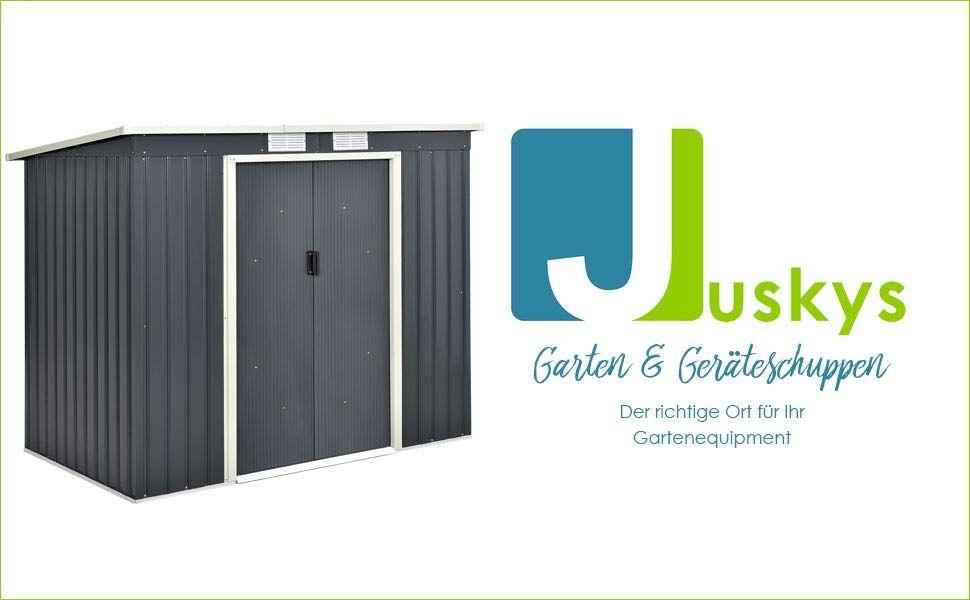 Juskys Metall Geräteschuppen Gerätehaus M mit Pultdach in