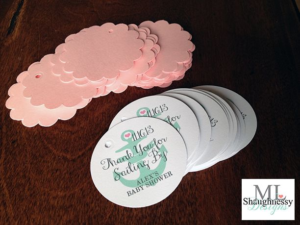 Add whimsical flair to your nautical baby shower with anchor favor tags by MLShaughnessy Designs