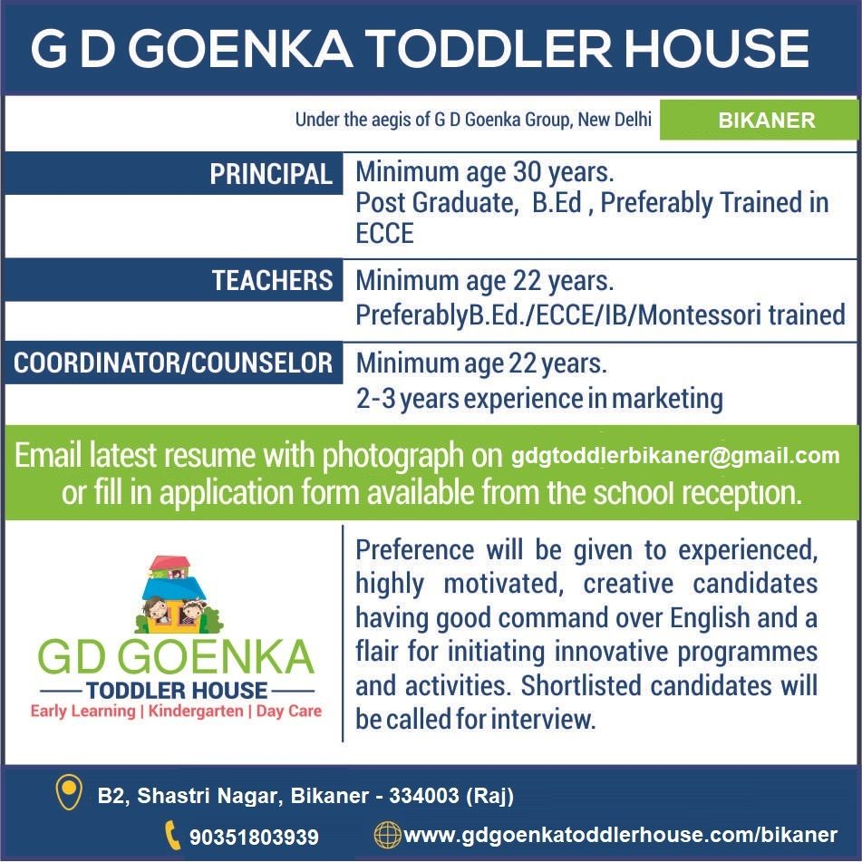 Vacancies In Gd Goenka Toddler House Gd Goenka Toddler Bikaner Senior Secondary School Preschool Fun Secondary School