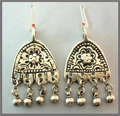 Antique Jewish Silver Earrings From Yemen
