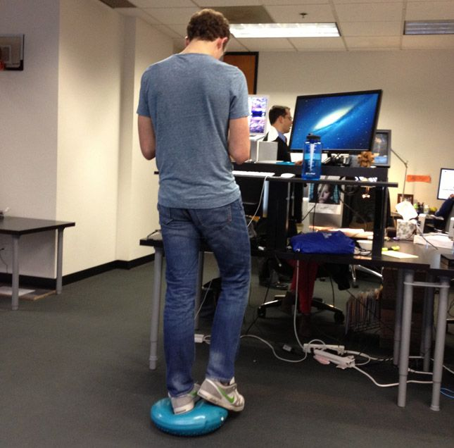 inflatable foot rest for your stand up desk