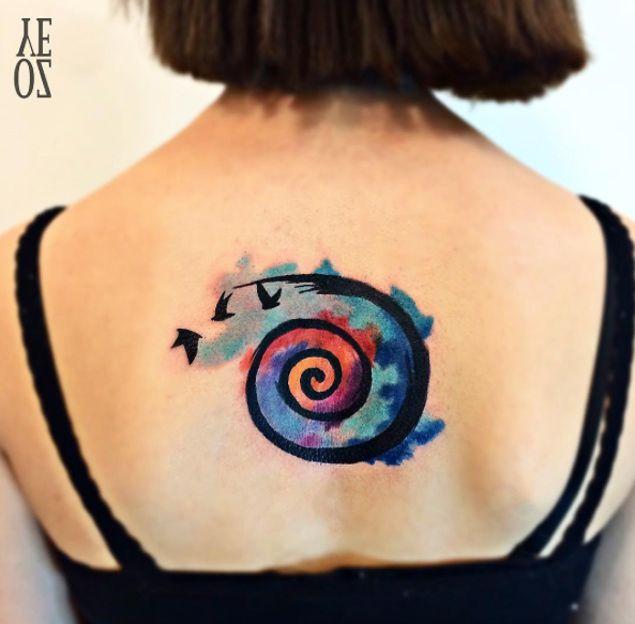 Watercolor Spiral Tattoo By Yeliz Ozcan Tattoos On Women