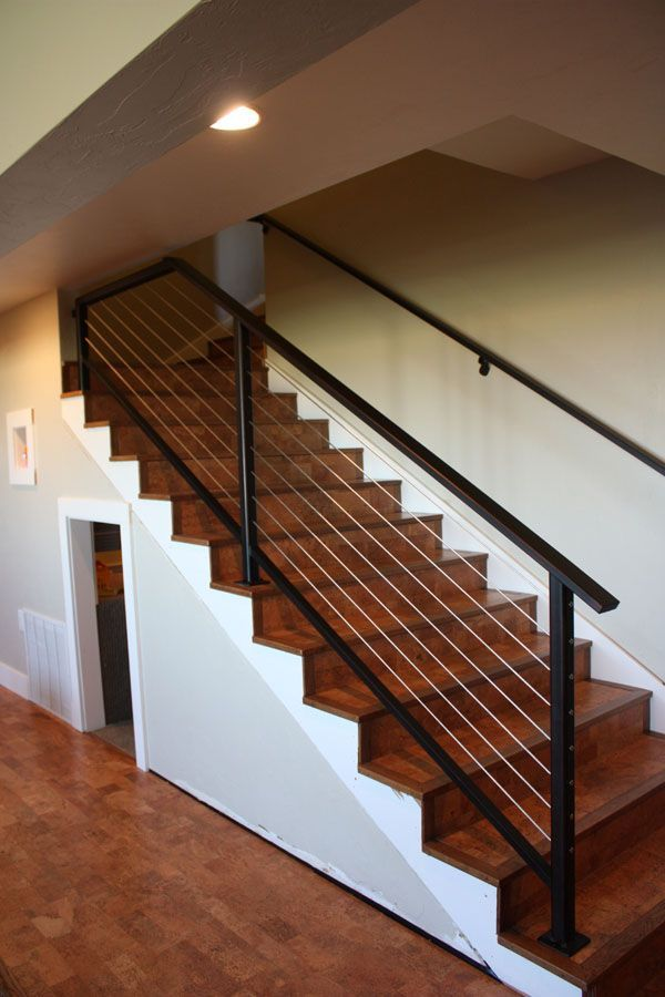 Cork Stairs And Metal Rail Basement Stairs Stair Railing Design   Metal Railing With Wood Handrail   Cable Railing   Wrought Iron Balusters   Stainless Steel Railing   Deck Railing   Carpeted Stairs