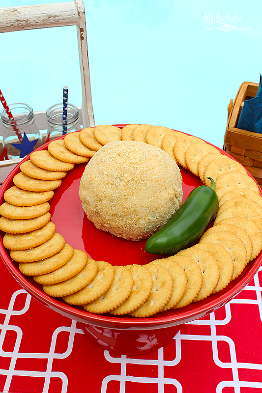 Easy Summer Snacks | Spicy Cheese Ball Recipe - Michelle's Party Plan-It   Party planning | @PartyPlanIts | Ritz | Crackers | Appetizers | Cream Cheese| Cheddar | Jalapenoso | Cumin |